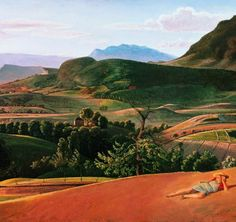 Balthus (Balthasar Klossowski) - Landscape at Champrovent, Oil on canvas John Piper, Edward Hopper, Modern Artists, French Artists, Landscape Art, Landscape Paintings, 20th Century Painters, Chef D Oeuvre, France