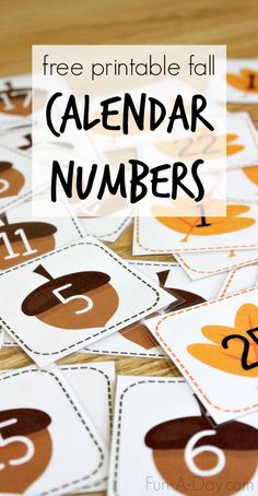 Free Printable Fall Calendar Numbers - acorn and leaf number cards that can be used to teach many early math concepts (like counting, patterns, one-to-one-correspondence, etc.). Perfect for preschool, kindergarten, and homeschool!