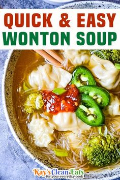 This Quick & Easy Wonton soup is easy to make, loaded with veggies and ready in 15 minutes, thanks to the frozen wontons. This soup is perfect for those days you just don't have the time or energy to cook everything from scratch but still crave that homemade taste. What I love most is the quickness of this dish. I love both Trader Joes and Costco chicken cilantro wontons, both come frozen which makes this an extra convenient dish. | Kay's Clean Eats @kayscleaneats #easywontonsoup… Chowder Recipes, Chili Recipes, Asian Recipes, Soup Recipes, Dinner Recipes, Fall Recipes, Christmas Recipes, Chicken Recipes, Healthy Soup