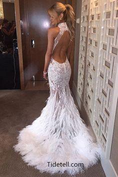 2016 long prom dresses, mermaid prom dresses, white prom dresses with feather, sheer prom dresses