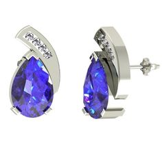 This 1.9ctw Pear Tanzanite Earring With .06ctw Diamonds in 14k White Gold available for just $1078.99.