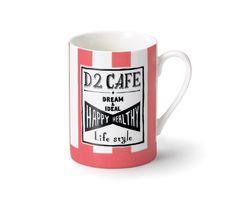 D2Cafeのオリジナルマグカップ。 淡いピンクとブルーのストライプがおしゃれにライフスタイルを演出します。mug