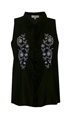 c6a0031395bd2c LADIES BLACK SLEEVELESS EMBROIDERED FLORAL CHIFFON BUTTON UP BLOUSE SHIRT  TOP SIZE 10 Jessica G http