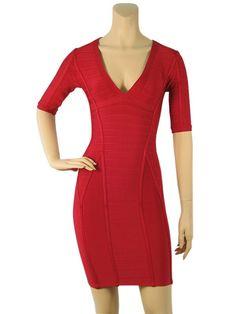 Herve Leger Long Sleeve Half sleeve V neck Bandage Lipstick Red Dress