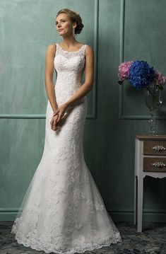 6066aa1610 Magnificent Tulle Mermaid Lace Wedding Dress with Wedding Veil
