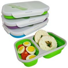 Collapsible Double Compartment Silicone Lunch Box Food Container 6 Cups