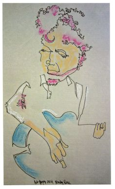 pinkalicious Woody Russell singer songwriter Austin Texas 2014 deb yager original  blind contour drawing
