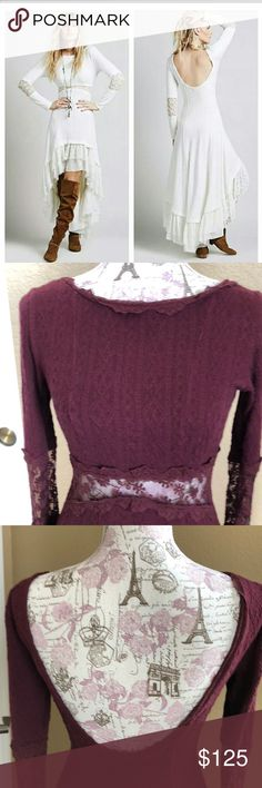 Free People Sweater Dress High low long sleeve dress with lace insetting.  Burgundy color.   No longer made. Free People Dresses High Low
