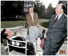 Ingrid Bergman, Cary Grant, and Alfred Hitchcock taking a Break, 1946. Color by Jorge Henrique Martins