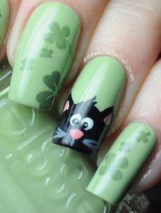 Best cat nails I've seen so far. Cat Nail Art, Animal Nail Art, Cat Nails, Love Nails, Pretty Nails, Sassy Nails, Dream Nails, St Patricks Day Nails, Cool Nail Designs