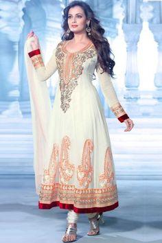 Cream Georgette Anarkali Churidar suit - DM12089