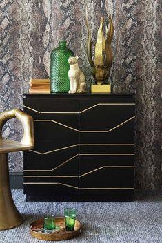 Black & Gold Geometric Line Design Cabinet from Rockett St George