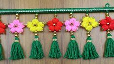 Woolen Craft ideas - How to Make Beautiful Door Hanging Toran - Woolen Design - Best out of waste Door Hanging Decorations, Diwali Decorations, Macrame Patterns, Crochet Patterns, Loom Yarn, Woolen Flower, Woolen Craft, Pooja Room Door Design, Spool Knitting