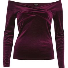 River Island Burgundy velvet bardot wrap top ($52) ❤ liked on Polyvore featuring tops, red, velvet top, red velvet top, red wrap top, river island and purple long sleeve top