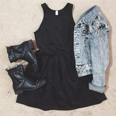 Combat boots, destroyed jean jacket, and black dress. Great edgy outfit!