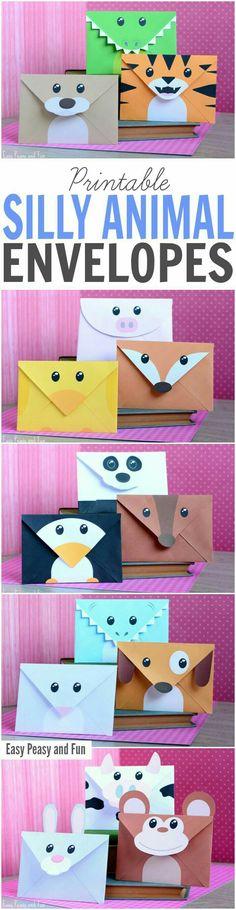 Sobres divertidos de pingüino, panda, zorro, pato o armadillo