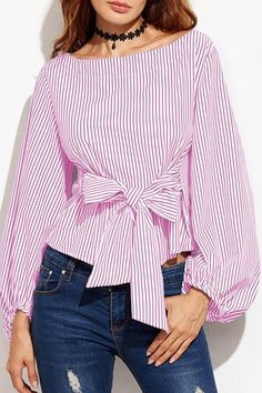 Round Neck Bowknot Striped Blouse For Women Casual Blouse For Women Work Classy Work Outfits, Dress Clothes For Women, Spring Outfits Women, Blouse Outfit, Ladies Dress Design, Blouse Designs, Shirt Blouses, Blouses For Women, Striped Blouses