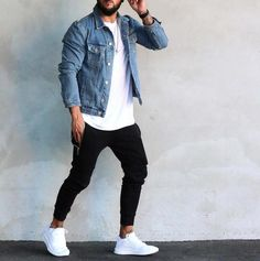 23 Jeans jacket outfits you'll love! Stylish Mens Outfits, Casual Outfits, Men Casual, Stylish Menswear, Casual Styles, Casual Dresses, Mode Man, Jean Jacket Outfits, Herren Outfit