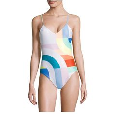 Mara Hoffman Meridian Classic One-Piece Colorblock Swimsuit ($225) ❤ liked on Polyvore featuring swimwear, one-piece swimsuits, beachwear, one-piece, white multicolor, print one piece swimsuit, white one piece bathing suit, 1 piece swimsuit, colorblock one piece bathing suit and one piece swim suit