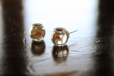 these are adorable!!!!    Yellow Goldfish in a bowl pet  earrings by lepetitebonbon on Etsy, $20.00