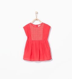 ZARA - KIDS - Coral Dress with contrasting embroidery