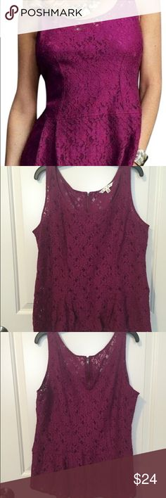 💕SALE💕 CAbi Boysenberry Peplum Blouse -Style #121  -EUC -- extremely good used condition -- like new! -Fall 2012 Collection -Lace/sheer -- wear something under it! -Beautiful pleat at waist for super flattering and chic cut -Wear with or without cardigan/jacket -Versatile - wear casually or professionally, or even for a night out! -Originally $98 -Offers welcome CAbi Tops Blouses