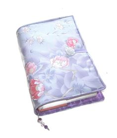 Large Bible Cover, Pink Roses on Lavender, Silk Kimono Fabric, Suitable for Hardback or Paperback Books, UK Seller, Padded Book Cover