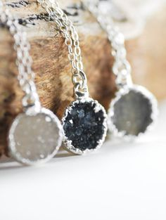 Noelani necklace silver druzy pendant necklace