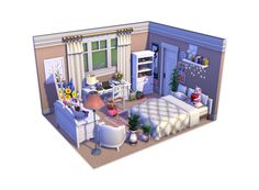 I finally had a go at the Dollhouse Challenge, months after everybody else! I'm pretty proud of myself! How do you guys think I did? Sims 4 House Plans, Sims 4 House Building, The Sims 4 Pc, Sims Cc, Sims 4 Cheats, Muebles Sims 4 Cc, Sims 4 Bedroom, Sims 4 House Design, Casas The Sims 4