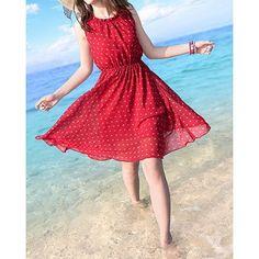 Polka Dot Print Casual vestido escote redondo de las mujeres sin mangas para Vender - La Tienda En Online IGOGO.ES