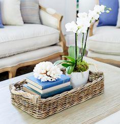 Gorgeous rattan tray www.lavenderhillinteriors.com.au