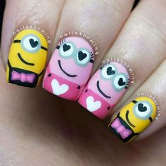 Smitten Minions nails by @Nailstorming  || 20 Amazing Valentine's Day Nails Ideas