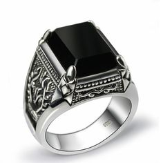 Bardouilles.. Dressuphere.com Black Obsidian Ring Vintage 100% Real Pure  Sterling Silver  With Natural Stone   For Men