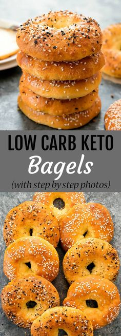 These bagels are just 5 ingredients and are wheat free, gl… Low Carb Keto Bagels. These bagels are just 5 ingredients and are wheat free, gluten free, low carb and keto. Step by step photos included in the post. Keto Bagels, Low Carb Bagels, Low Carb Bread, Low Carb Diet, Keto Bread, Gluten Free Bagels, Low Carb Food, Healthy Low Carb Meals, Carb Free Meals