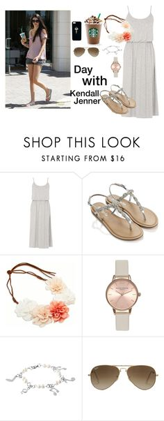 """""""Day with Kendall"""" by famousstyles-dp ❤ liked on Polyvore featuring Warehouse, Accessorize, American Eagle Outfitters, Mason's, Topshop, West Coast Jewelry, Ray-Ban, The Giving Keys, starbucks and kendalljenner"""