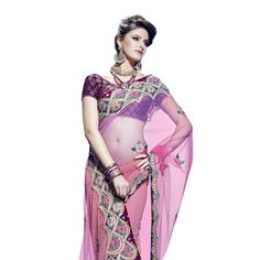 Shaded Pink Net Saree With Blouse