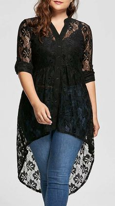 top outfits:High Low Lace Plus Size Top
