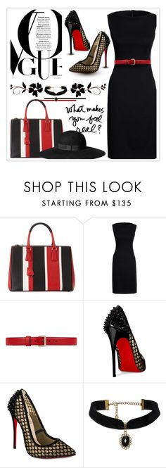 """""""Red, Black, & White"""" by nonniekiss ❤ liked on Polyvore featuring Prada, Canvas by Lands' End, Gucci, Christian Louboutin and H&M"""