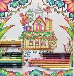 The brown/yellow set is for the house. The blue/green set is for the blue and green plants at the bottom. The purple/pink set is for the purple/pink/yellow plants at the bottom. I layer my colors from dark to light. I use the white pencil to blend out the lighter inner colors with the darker ones. #johannabasford #magicaljungle #magicaljunglecoloringbook #마법의정글 #gellyroll #selvamagica #раскраска #раскраскадлявзрослых #enchantedforestcoloringbook #prismacolor #colorful #colortherapy…