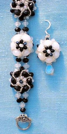 Beaded Flower Bracelet and Earrings