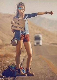 Hitchhiking the road to happiness.