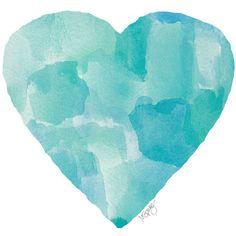 Aqua Blue Watercolor Heart Art Print 8x10 ($18) ❤ liked on Polyvore