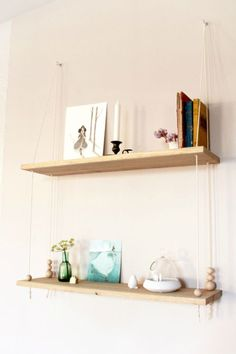 If we end up placing the bed behind the kitchen cupboards, I could hang shelves like this from the back of them. (Small Bedroom Ideas: 5 DIY Wooden Shelves For Tiny Sleeping Spaces Wooden Diy, Decor, Diy On A Budget, Bedside Table Diy, Interior, Home Diy, Diy Hanging Shelves, Diy Furniture, Home Decor