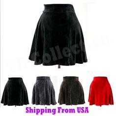 High Waist Urban Vintage Pleated Velvet Velour Soft Skater Flare Mini Skirt  #Unbranded #Mini    one each black velourand gray velour