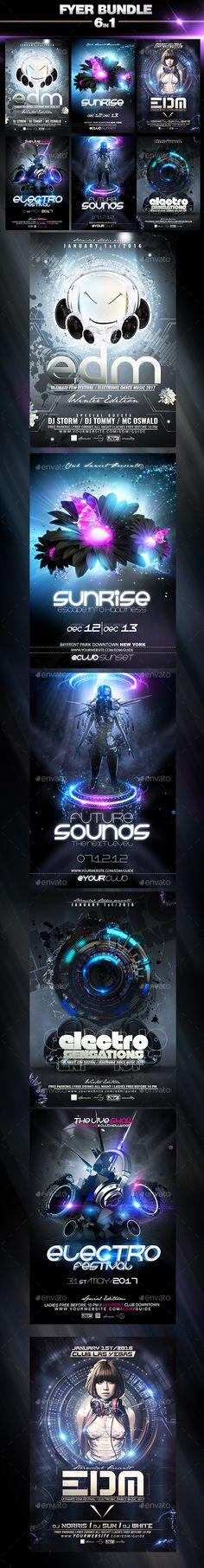 Party Flyer Electro Bundle V3  PSD Template • Get it now! ➝ https://graphicriver.net/item/party-flyer-electro-bundle-v3/13506684?ref=pxcr