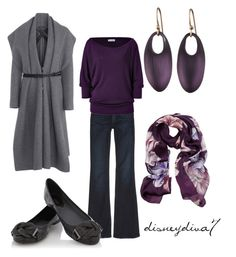 """""""Lounging Plums"""" by disneydiva7 ❤ liked on Polyvore featuring Maison Margiela, Genetic Denim, Michael Stars, Oasis, Salvatore Ferragamo, floral scarves, sweater, flared jeans and disneydiva7"""