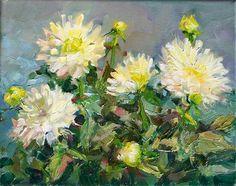 "Daily Paintworks - ""White Dahlias,still life, oil on canvas,8x10,price$250"" - Original Fine Art for Sale - © Joy Olney"