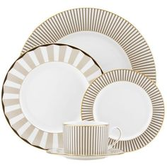 Gluckstein by Lenox Audrey 5-Piece Place Setting (185 CAD) ❤ liked on Polyvore featuring home, kitchen & dining, dinnerware, lenox, lenox cup, black salad plates, lenox dinner plates and oz cup
