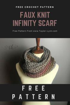 hdc, half double crochet, knit, knit stitch, infinity, infinity scarf, scarf, scarf pattern, scarf pattterns, crochet scarf, scarves, faux knit