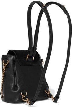 Chloé - Faye Mini Leather And Suede Backpack - Black - one size